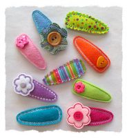 Basic Snap Barrette Clip Covers Felt Stitchies