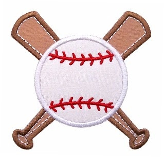 Baseball Bat & Ball Applique