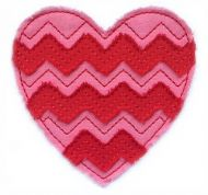 Raw Edge Chevron Heart Applique