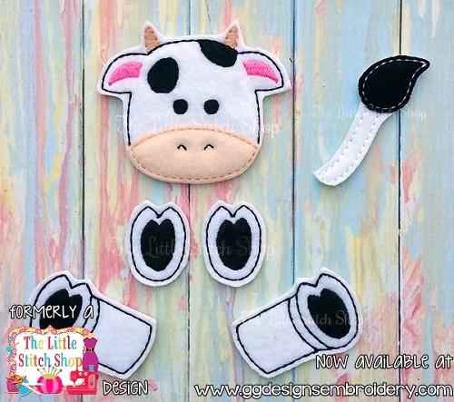 Cow Set Oversized Bow Parts Feltie