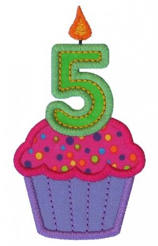 Cupcake Five Applique