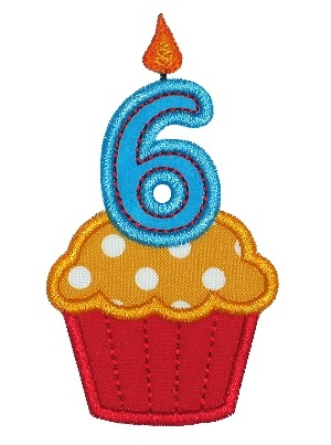 Cupcake Six Applique