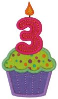 Cupcake Three Applique