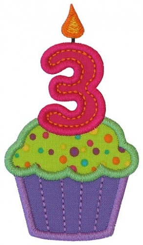 Cupcake Three Applique