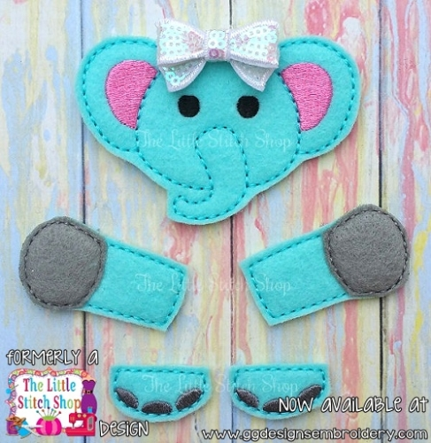 Elephant Set Oversized Bow Parts Feltie
