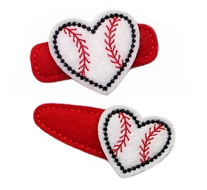Heart Baseball Felt Stitchies