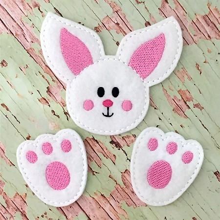 Bunny Head and Feet Oversized Bow Parts Feltie