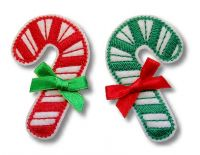 Candy Cane Alligator Clip Cover Felt Stitchies
