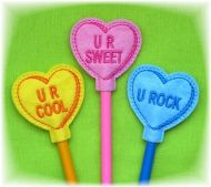 Candy Hearts Pencil Toppers