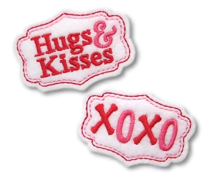 Hugs and Kisses Clip Cover Felt Stitchies