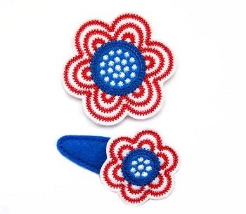 Patriotic Flower Clip Cover Felt Stitchies