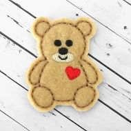 Teddy Heart Felt Stitchies