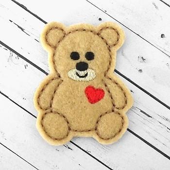 Teddy Heart Felt Stitchies