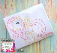 Flutter Pony Redwork