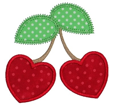 Heart Cherries Applique