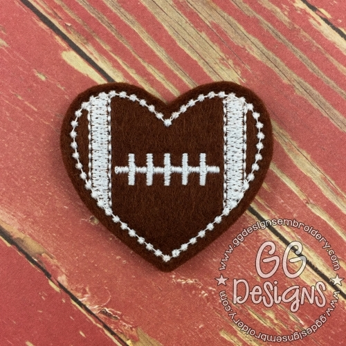 Heart Football Felt Stitchies