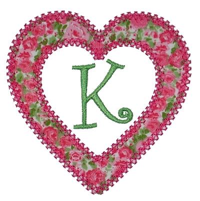 Heart Applique Font Frame