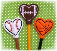 Heart Sports Ball Pencil Toppers