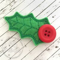 Holly Leaf Clip Cover Felt Stitchies