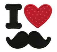 I Love Mustaches Applique