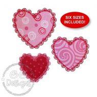 FREE Petite Lace Hearts Applique