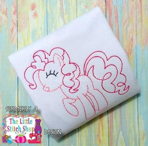 Pinkie Pony Redwork