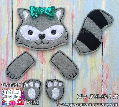 Raccoon Set Oversized Bow Parts Feltie