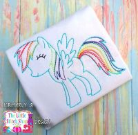 Rainbow Pony Redwork