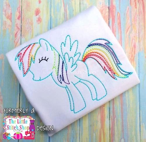 Rainbow Pony Redwork