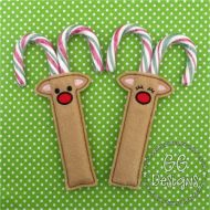 Reindeer Girl and Boy Candy Cane Holder