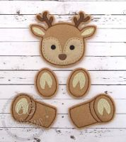 Reindeer Oversized Bow Parts Feltie