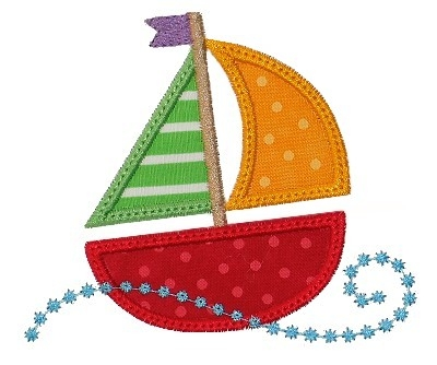Swirly Sail Boat Applique
