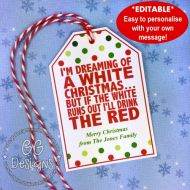 PRINTABLE Wine Gift Tag - White Christmas