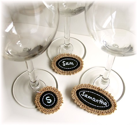 Chalkboard Wine Glass Charms