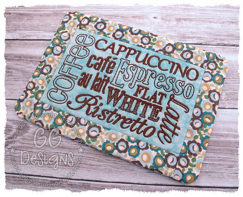 Coffee Mug Rug In The Hoop Gg Designs